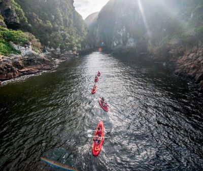 Kayaking up the Storms River Gorge