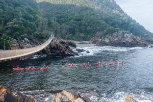 Kayaking under the Storms River Suspension Bridge